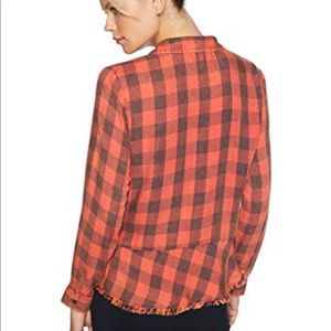 Democracy Tops - Red Plaid Button Down Raw Hem Orange Fade
